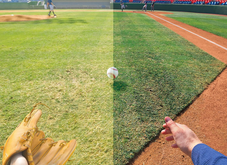 50cb06554117f Prizm Baseball  comparação com a visão tradicional (esquerda) e com a  tecnologia Prizm (direita)