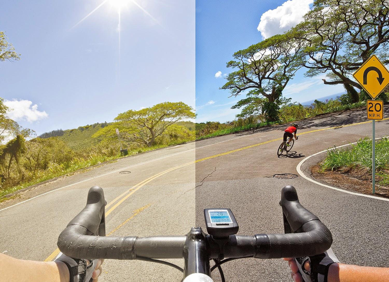 e6485c4b229f2 Prizm Road  comparação com a visão tradicional (esquerda) e com a  tecnologia Prizm (direita)
